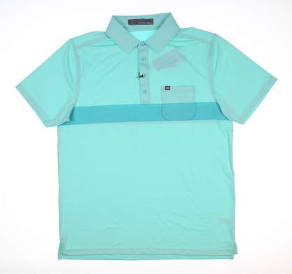 New Mens MATTE GREY Gavin Golf Polo Large L Blue MSRP $70