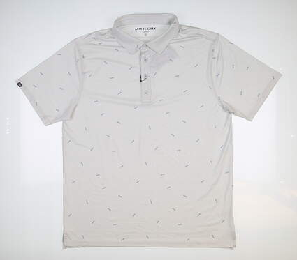 New Mens MATTE GREY Leif Golf Polo Large L Gray MSRP $70