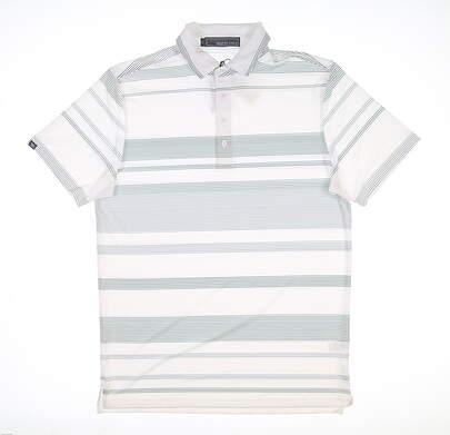 New Mens MATTE GREY Golf Polo Medium M White MSRP $70