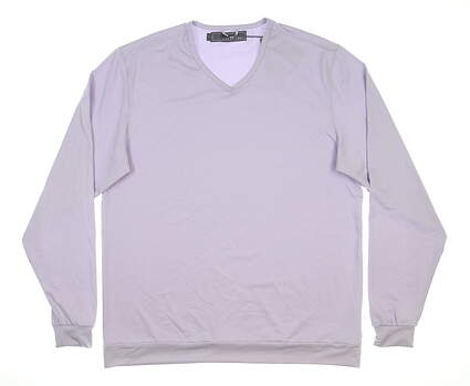 New Mens MATTE GREY Rover Long Sleeve V-Neck Large L Purple MSRP $130
