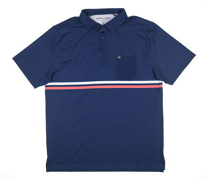 New Mens MATTE GREY Trent Golf Polo Large L Blue MSRP $70