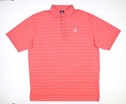 New W/ Logo Mens Footjoy Double Pinstripe Golf Polo X-Large Watermelon MSRP $90