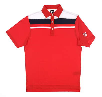 New W/ Logo Mens Footjoy Colorblock Golf Polo Small S Red 25753 MSRP $90