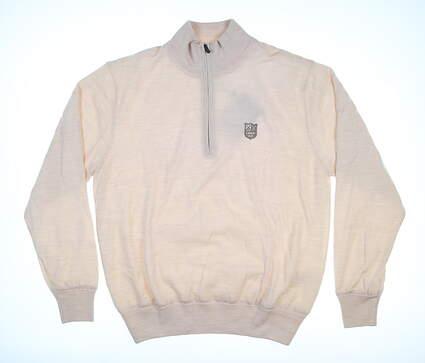 New W/ Logo Mens Footjoy 1/4 Zip Sweater Medium M Cream 33858 MSRP $185