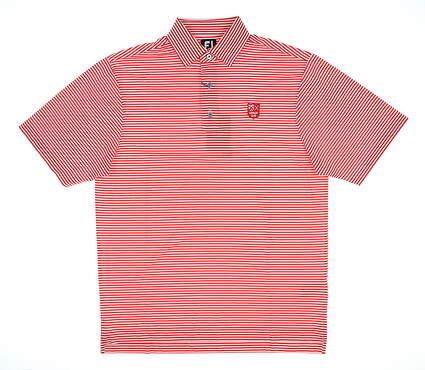 New W/ Logo Mens Footjoy Feeder Stripe Golf Polo Medium M Scarlet 25781 MSRP $90