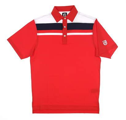 New W/ Logo Mens Footjoy Colorblock Golf Polo Medium M Red 25753 MSRP $90