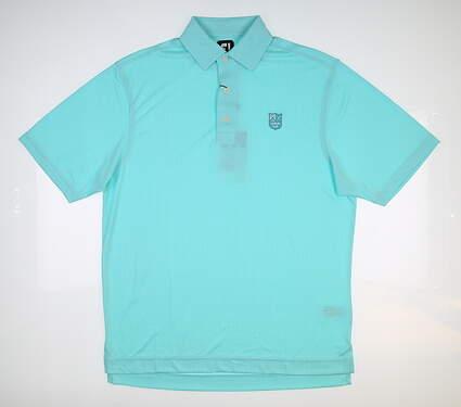 New W/ Logo Mens Footjoy Diamond Jacquard Golf Polo Small S Aqua 25764 MSRP $90