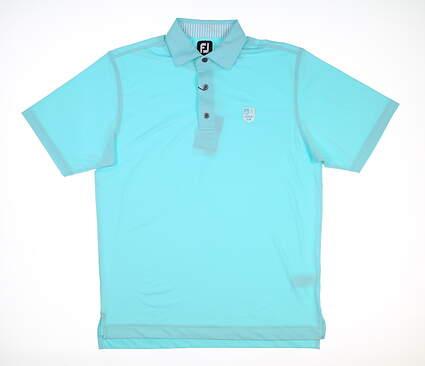 New W/ Logo Mens Footjoy Golf Polo Large L Aqua 25569 MSRP $90
