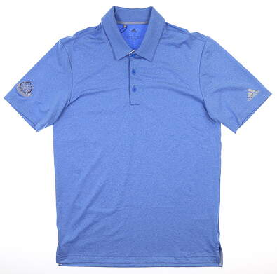 New W/ Logo Mens Adidas Ultimate 2.0 Heather Polo Small S Blue MSRP $90 DQ2336