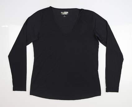 New Womens Jamie Sadock Sunsense Long Sleeve Large L Black MSRP $59 61127
