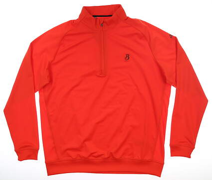 New W/ Logo Mens Adidas Classic 1/2 Zip Pullover Large L Red MSRP $75 CF7671
