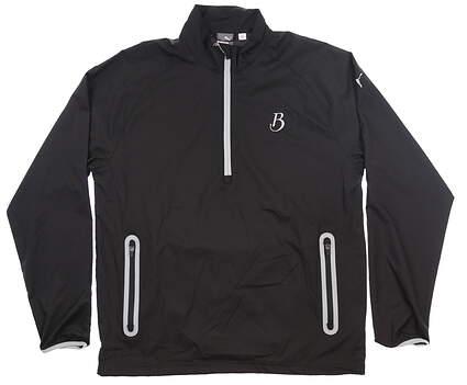 New W/ Logo Mens Puma 1/2 Zip Wind Jacket Large L Puma Black MSRP $80 572297 01