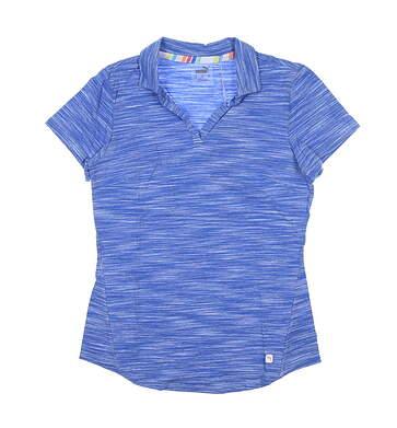 New Womens Puma Heather Slub Polo Small S Palace Blue 595824 MSRP $60