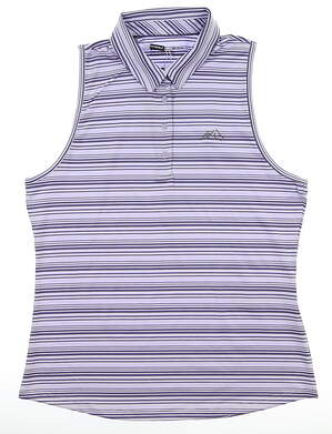 New W/ Logo Womens Under Armour Sleeveless Polo Large L Purple MSRP $65