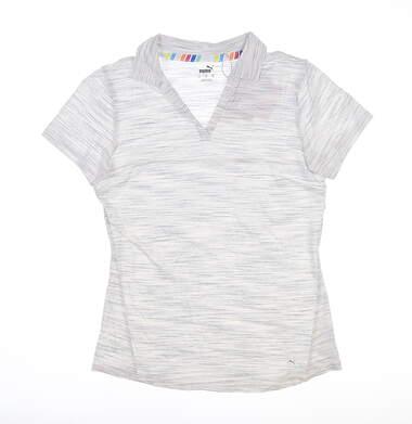 New Womens Puma Heather Slub Polo Small S Bright White 595824 MSRP $60