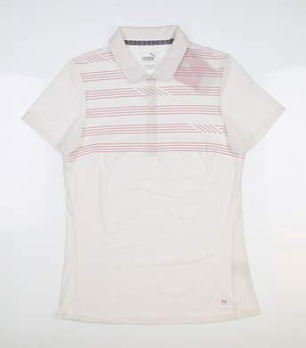 New Womens Puma Step Stripe Polo Small S Bright White 595139 MSRP $60