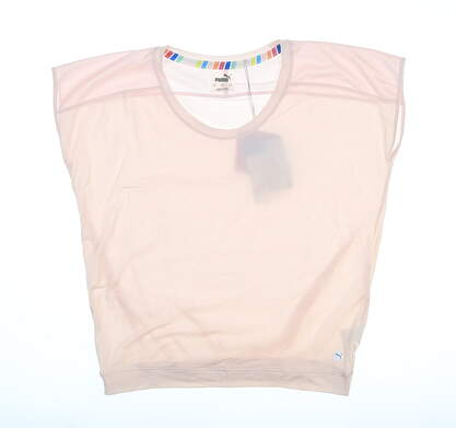 New Womens Puma Slouchy T-Shirt Small S Rosewater 595839 MSRP $50