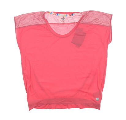New Womens Puma Slouchy T-Shirt Small S Rapture Rose 595839 MSRP $50