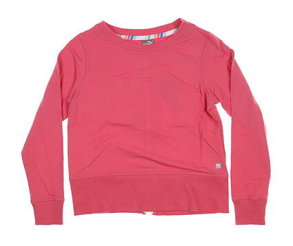 New Womens Puma Long Sleeve Crew Neck Zip Fleece Small S Pink 595849 MSRP $72