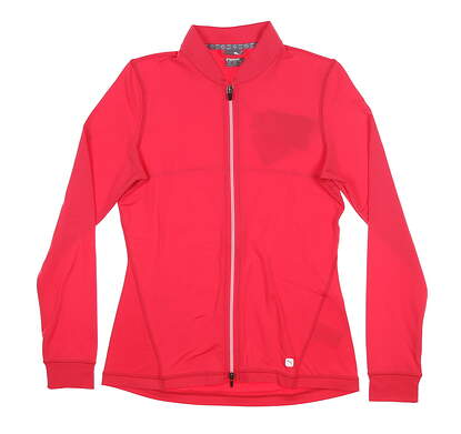New Womens Puma Full Zip Knit Golf Jacket Small S Azalea 595447 MSRP $70
