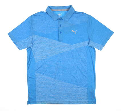 New Mens Puma Alterknit Texture Polo Medium M Ibiza Blue 597122 MSRP $75