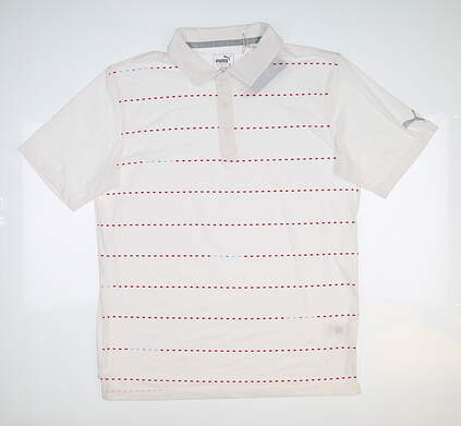 New Mens Puma Fusion Dot Polo Medium White/Cherry 595790 MSRP $75