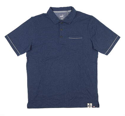 New Mens Puma Slub Polo Medium M Dark Denim 595786 MSRP $70