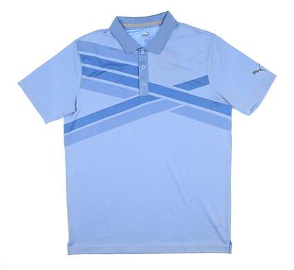 New Mens Puma Alterknit Texture Golf Polo Medium M Blue Bell 595779 MSRP $75