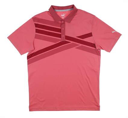 New Mens Puma Alterknit Texture Golf Polo Medium M Red 595775 MSRP $75