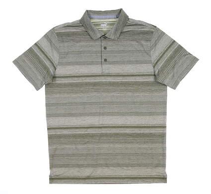 New Mens Puma Variegated Stripe Polo Medium Deep Lichen Green 595792 MSRP $70