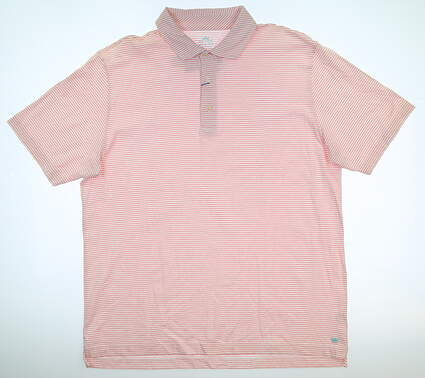 New Mens Peter Millar Golf Polo Large L White/Pink MSRP $88 MS17K73