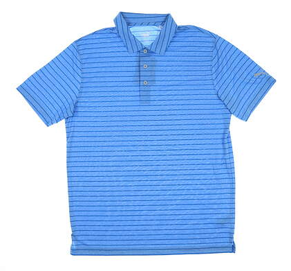 New Mens Puma Rotation Stripe Polo Medium M Ibiza Blue 577974 MSRP $60
