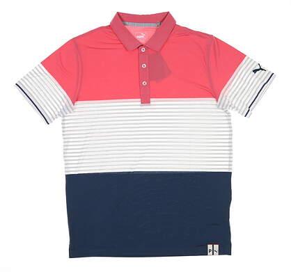 New Mens Puma Cloudspun Taylor Golf Polo Medium M Rapture Rose 595789 MSRP $70