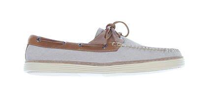 New Mens Golf Shoe Peter Millar Boat Shoes Medium 10 Stone MSRP $220