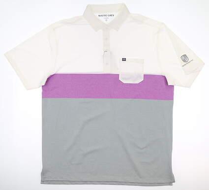New W/ Logo Mens MATTE GREY Meldman Polo X-Large XL White/Gray MSRP $90 110072