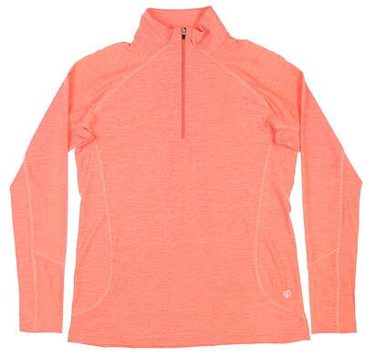 New Womens Straight Down 1/4 Zip Golf Pullover Small S Peach MSRP $84