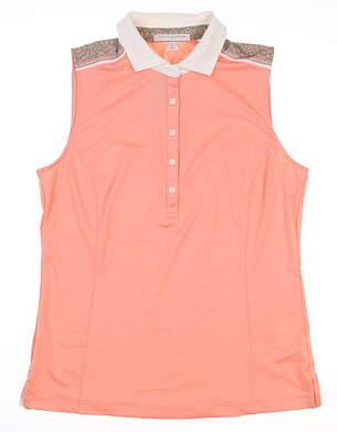 New Womens Fairway & Greene Sleeveless Polo Medium M Orange MSRP $79 I1222