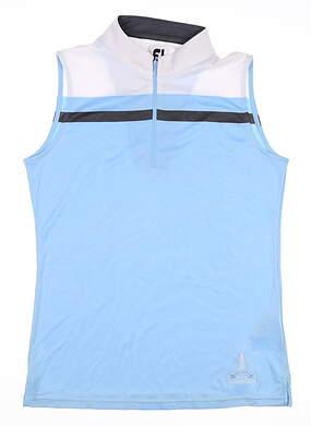 New W/ Logo Womens Footjoy Sleeveless Polo Medium M White/Sky/Charcoal MSRP $90 24705