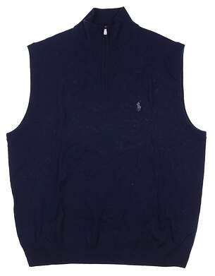 New Mens Ralph Lauren Sweater Vest Large L Navy Blue MSRP $155
