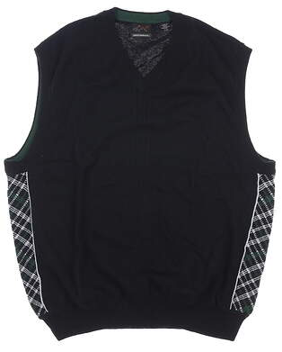 New Mens Greg Norman Natural Sweater Vest Large L Black MSRP $95 G7F1V135