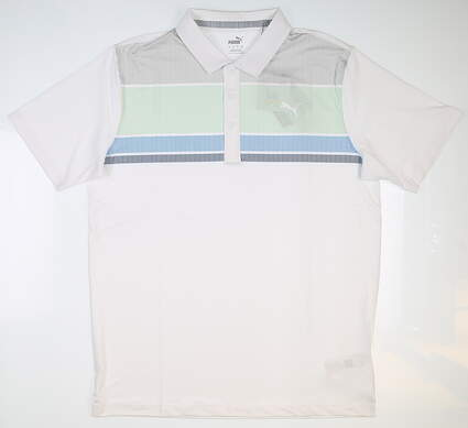 New Mens Puma Road Map Golf Polo X-Large XL White MSRP $65 595788 05