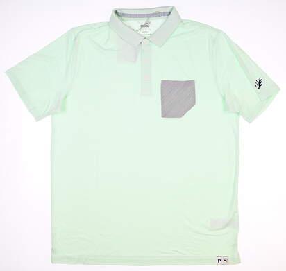 New W/ Logo Mens Puma Cloudspun Champions Golf Polo Medium M Mist Green MSRP $70 595787 05