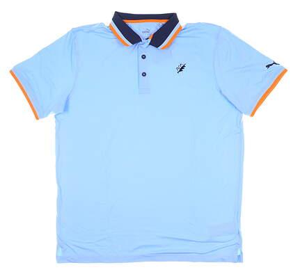 New W/ Logo Mens PumaX Tipped Golf Polo Medium M Blue Bell MSRP $85 596810 01