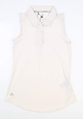 New Womens Adidas Ultimate 365 Sleeveless Polo X-Small XS White MSRP $55 FS8435