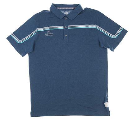 New W/ Logo Mens Puma Polo Small S Blue MSRP $70 595111 05