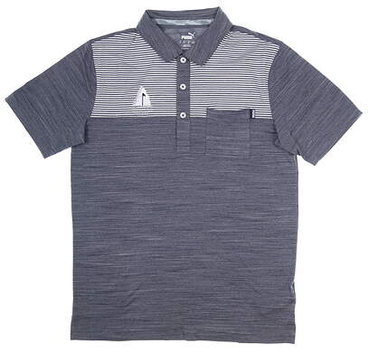 New W/ Logo Mens Puma Cloudspun Golf Polo Medium M Peacoat MSRP $70 597578 02