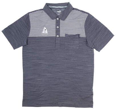 New W/ Logo Mens Puma Cloudspun Golf Polo Large L Peacoat MSRP $70 597578 02