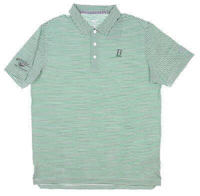 New W/ Logo Mens Puma Caddie Stripe Golf Polo Medium M Amazon Green MSRP $65 595115 20
