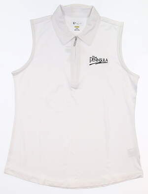 New W/ Logo Womens Greg Norman Sleeveless Polo Medium M White MSRP $55