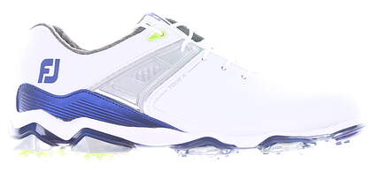 New Mens Golf Shoe Footjoy Tour X Medium 9.5 White/Blue MSRP $200 55404